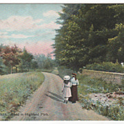 Greenfield MA Massachusetts Road in Highland Park Vintage Postcard