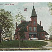 High School Orange MA Massachusetts Vintage Postcard
