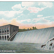 Dam at Vernon VT Vermont Hinsdale NH New Hampshire Vintage Postcard