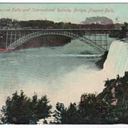 American Falls and International Railway Bridge Niagara Falls NY New York Vintage Postcard