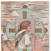 Easter Vintage Postcard Easter Peace Be Thine Angel Elaborate Cross
