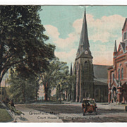 Greenfield MA Massachusetts Court House and Congregational Church Vintage Postcard