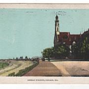 German Building Chicago IL Ilinois Vintage Postcard