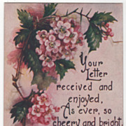 Greetings Vintage Postcard Your Letter Received Old Fashioned Pink Roses