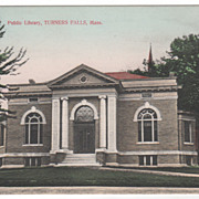 Public Library Turners Falls MA Massachusetts Vintage postcard