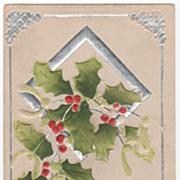 Christmas Vintage Postcard A Merry Christmas to You Holly Silver Diamond Frame