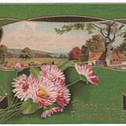 Greetings Vintage Postcard Friendship's Remembrance Country Scene Art Nouveau