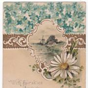 Greetings Vintage Postcard Windmill Scene Large White Flower Small Blue Flowers