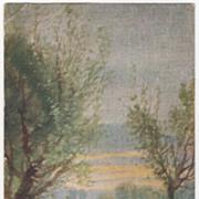 Greetings Vintage Postcard Sportsman's Paradise Sunset on Water Rowboat Ashore