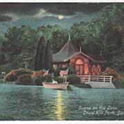 Scene on the Lake Druid Hill Park Baltimore MD Maryland Vintage Postcard