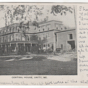 Central House Unity ME Maine Vintage Postcard