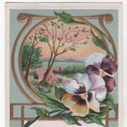 Greetings Vintage Postcard Remember Me Art Nouveau Framed Scene Canoe Pansies