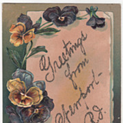 Greetings Vintage Postcard Greetings from Newport RI Rhode Island Pansies