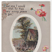 Greetings Vintage Postcard All Happiness for Your Birthday Barn Scene Flowers
