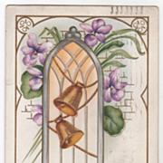 Easter Vintage Postcard Chime on Ye Merry Easter Bells Golden Bells Violets
