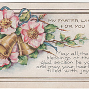 Easter Vintage Postcard My Easter Wish for You Old Fashioned Pink Roses Bells