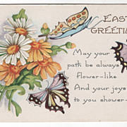 Easter Vintage Postcard Easter Greetings Butterflies and Flowers
