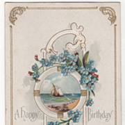 Greetings Vintage Postcard A Happy Birthday Sailing Ship Framed in a Port Hole