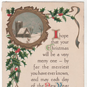 Christmas/New Year Vintage Postcard Church Scene Holly Ribbon