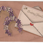 Greetings Vintage Postcard Birthday Greetings Note Card Horseshoes of Violets