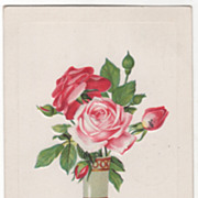 Greetings Vintage Postcard Birthday Many Happy Returns Vase of Roses