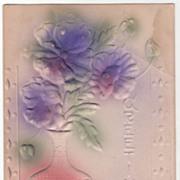 Greetings Vintage Postcard Greetings Purple Flowers and Greenery in a Pink Vase