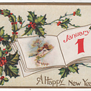 New Year Vintage Postcard A Happy New Year Book w/Country Scene Holly