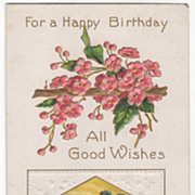 Greetings Vintage Postcard For a Happy Birthday Church Tower Apple Blossoms