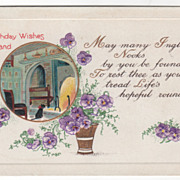 Greetings Vintage Postcard Birthday Wishes Kind and True Fireplace w/Cat Violets