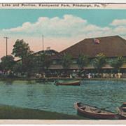 Lake and Pavilion Kennywood Park Pittsburgh PA Pennsylvania Vintage Postcard