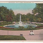 Fountain East Park Pittsburgh PA Pennsylvania Vintage Postcard