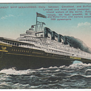 C and B Line Great Ship Seeandbee Cleveland OH Buffalo NY Vintage Postcard