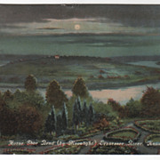 Horse Shoe Bend Moonlight Tennessee River Knoxville TN Tennessee Vintage Postcard
