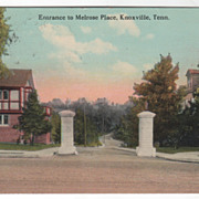 Entrance to Melrose Place Knoxville TN Tennessee Vintage Postcard
