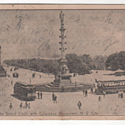 The Grand Circle with Columbus Monument New York City NY New York Vintage Postcard