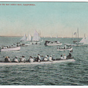 Yachting on Sand Diego Bay CA California Vintage Postcard