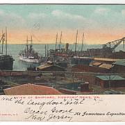 SOLD View of Shipyard Newport News VA Virginia Vintage Postcard - At Jamestown Exposition