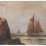 Seascape with Sailboats - Wish I Was Rich Vintage Postcard
