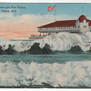 Giant Breakers and Sun Parlor, Long Beach CA California Vintage Postcard