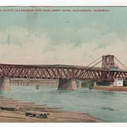 Southern Pacific Drawbridge over Sacramento River Sacramento CA California Vintage Postcard