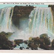 Cave of the Winds and Bridal Veil Falls Niagara Falls NY New York Vintage Postcard