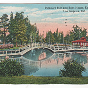 Pleasure Pier Boat House Eastlake Park Los Angeles CA California Vintage Postcard