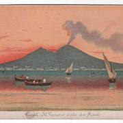 Napoli Italy Il Vesuvio Visto Da Mare Vintage Postcard