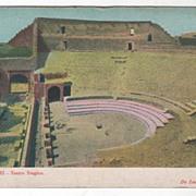Pompei Italy Teatro Tragico Vintage Postcard
