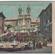 Roma Italy Chiesa della Trinita dei Monti con la Scalinata Vintage Postcard