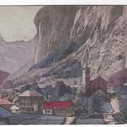 Lauterbrunner and the Staubach Falls Alps Switzerland Vintage Postcard