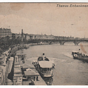 Thames Embankment London England Vintage Postcard
