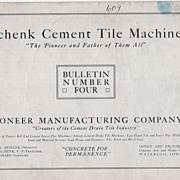 Schenk Cement Tile Machine Pioneer Mfg Co Waterloo IA Iowa Large Brochure