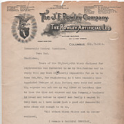 J F Rowley Co Columbus OH Ohio Rowley Artificial Leg Letterhead