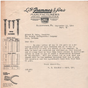 L F Grammes & Sons Inc Manufacturers Metal Specialties Allentown PA Letterhead